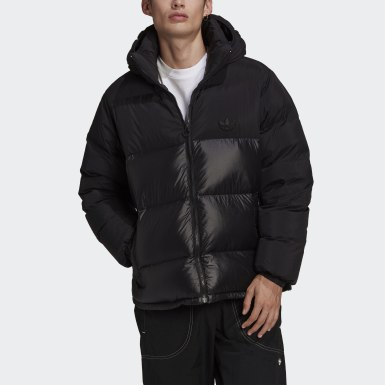 Men Originals Black Down Regen Hooded Blocked Puffer Jacket