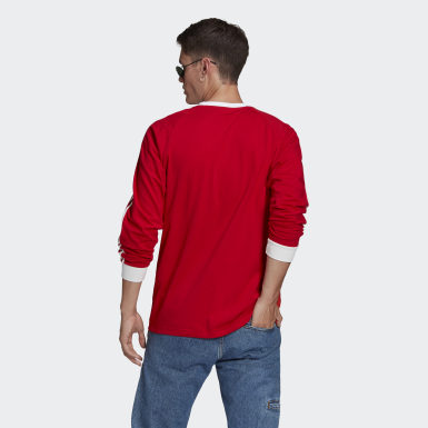 Men Originals Red Adicolor Classics 3-Stripes Long-Sleeve Top