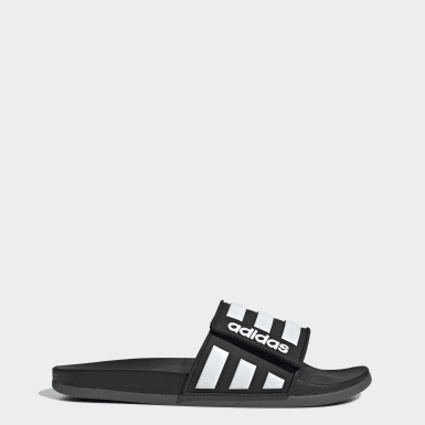 Essentials Black Adilette Comfort Adjustable Slides