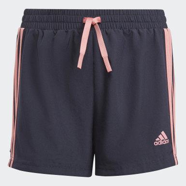 เด็กผู้หญิง ไลฟ์สไตล์ สีน้ำเงิน กางเกงขาสั้น adidas Designed To Move 3-Stripes