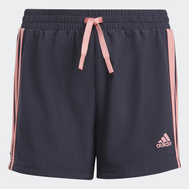 Girls Lifestyle Blue adidas Designed To Move 3-Stripes Shorts