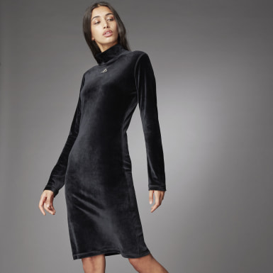 Women's Athletics Black Turtleneck Velour Dress