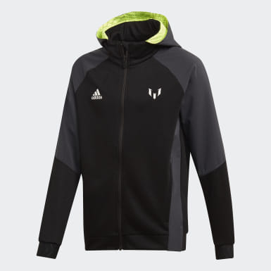 Youth Training Black Messi Full-Zip Hoodie