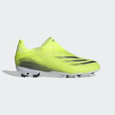 Botas de Futebol sem Atacadores X Ghosted+ – Piso firme Amarelo Rapazes Futebol
