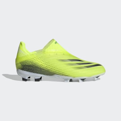 Children Soccer Yellow X Ghosted+ Laceless Firm Ground Cleats