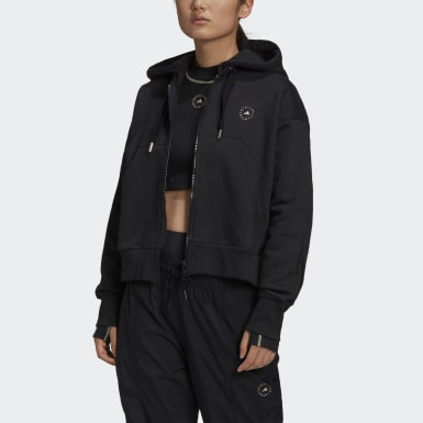 Dam adidas by Stella McCartney Svart adidas by Stella McCartney Full-Zip Cropped Hoodie