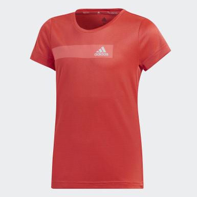 เด็กผู้หญิง โยคะ สีชมพู เสื้อยืด Training Cool