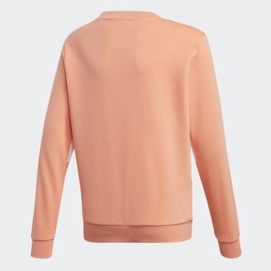 Kids Originals Orange Big Trefoil Crew Sweatshirt