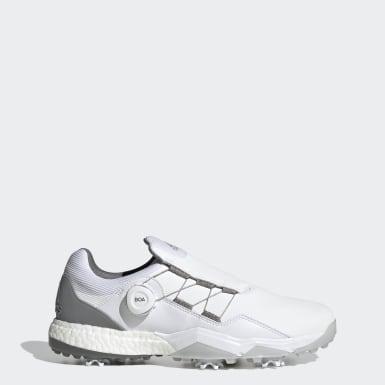 ผู้ชาย กอล์ฟ สีขาว รองเท้ากอล์ฟ Adipower 5ER Boa