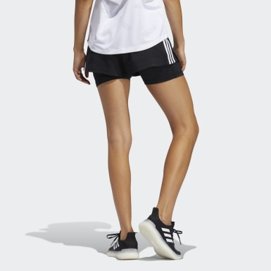 Women Training Black Pacer 3-Stripes Woven Two-in-One Shorts