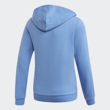Mädchen Training 3-Streifen Kapuzenjacke Blau