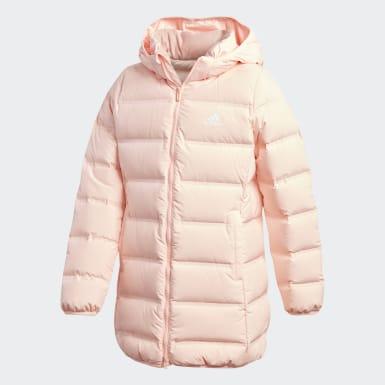 розовый Удлиненный пуховик