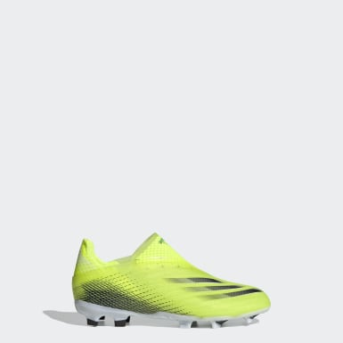 Boys Football Yellow X Ghosted+ Laceless Firm Ground Boots