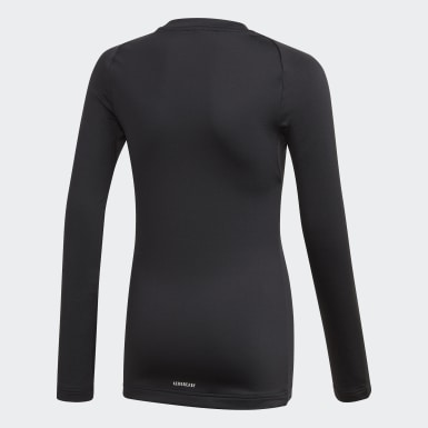 Deti Tréning čierna Tričko Alphaskin Warm AEROREADY Warming Long Sleeve