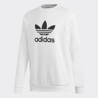 Men Originals White Trefoil Warm-Up Crew Sweatshirt