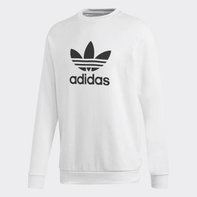 Men's Originals White Trefoil Warm-Up Crew Sweatshirt