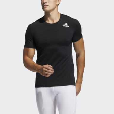 Men Training Black Techfit Compression Short Sleeve Tee