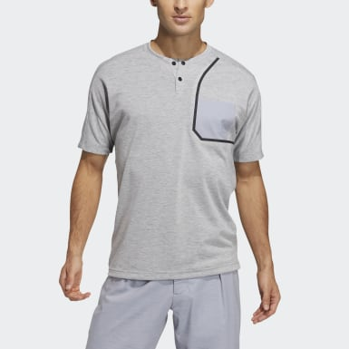 Men Golf Grey Henley Shirt