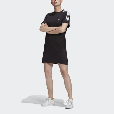 Women Originals Black Adicolor Classics Roll-Up Sleeve Tee Dress