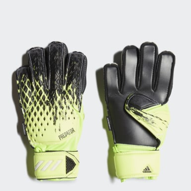 Youth 8-16 Years Football Green Predator 20 Match Fingersave Goalkeeper Gloves