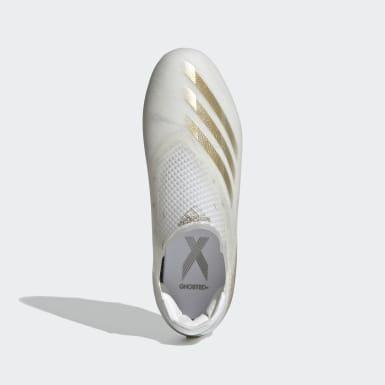 Bota de fútbol X Ghosted+ césped natural seco Blanco Niño Fútbol