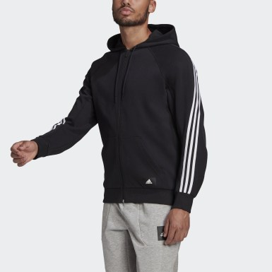 Men Athletics Black adidas Sportswear 3-Stripes Hooded Track Top
