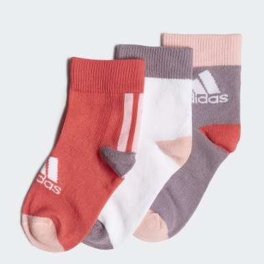 Youth 8-16 Years Training Pink Ankle Socks 3 Pairs