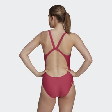 Women Swimming Pink adidas SH3.RO Mid 3-Stripes Swimsuit