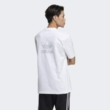 T-shirt Trefoil Boxy with Front and Back Print blanc Hommes Originals