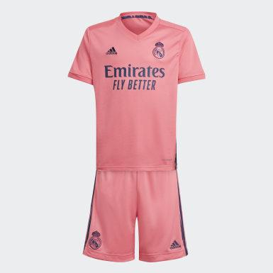 Equipamento Alternativo 20/21 do Real Madrid para Jovem Rosa Criança Futebol