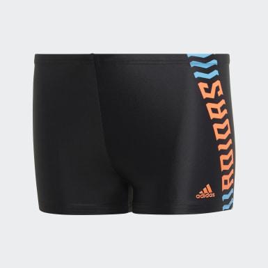 Jungen Schwimmen Fitness Boxer-Badehose Schwarz