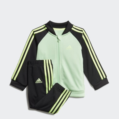 Kinder Athletics 3-Streifen Tricot Trainingsanzug Grün