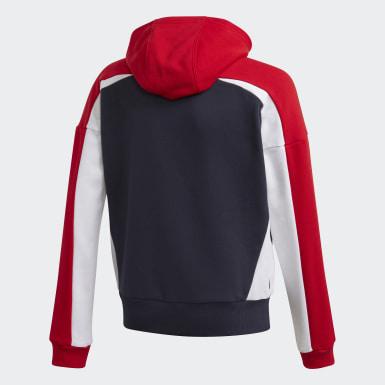 Girls Træning Blå Bold Full-Zip hættetrøje