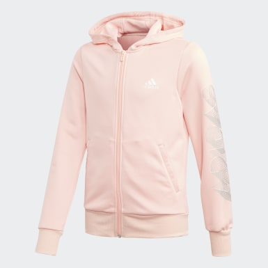 Girls Træning Pink Hooded Polyester træningsdragt