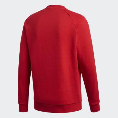 Sudadera cuello redondo 3 bandas Rojo Hombre Originals
