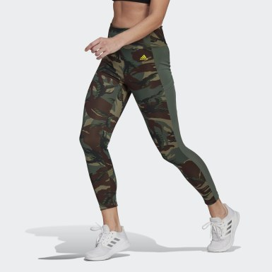 Women Cross Training Green AEROREADY Designed 2 Move Camouflage High-Rise 7/8 Tights