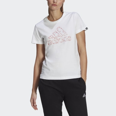 Women's Essentials White Outlined Floral Graphic Tee