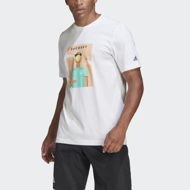 MEN TENNIS GRAPHIC ADIDAS RACQUET MAG T-SHIRT Bialy