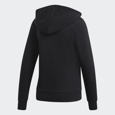 ผู้หญิง ไลฟ์สไตล์ สีดำ เสื้อฮู้ด Essentials Linear