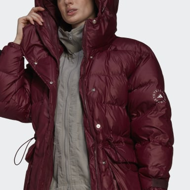 Γυναίκες adidas by Stella McCartney Burgundy 2-in-1 Mid Length Padded Jacket