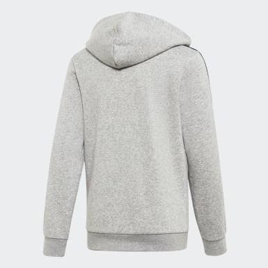 Barn Athletics Grå Essentials 3-Stripes Hoodie