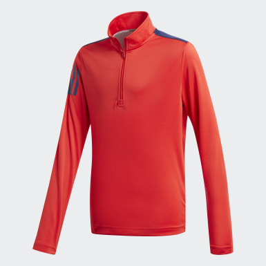 Boys Golf Red 3-Stripes Half-Zip Sweatshirt