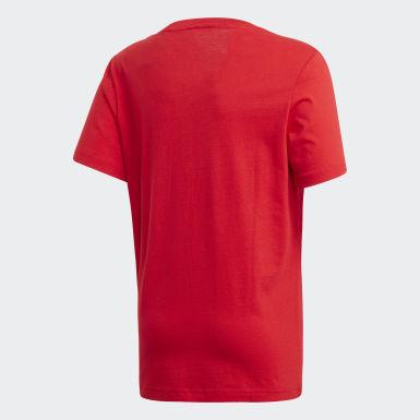 T-shirt Essentials Linear Logo Rosso Ragazzo Athletics