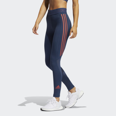 Kvinder Vintersport Blå Techfit 3-Stripes lange tights