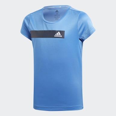 เด็กผู้หญิง โยคะ สีน้ำเงิน เสื้อยืด Training Cool