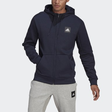 Men Athletics Blue Must Haves Full-Zip Stadium Hoodie