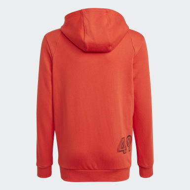 Boys Training Red Comfort Colorblock Hoodie