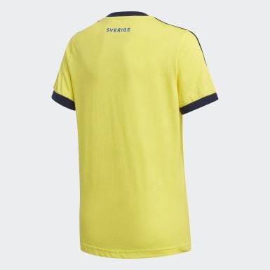 Kinder Fußball Schweden 3-Streifen T-Shirt Gelb