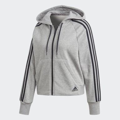 Women Athletics Grey Must Haves 3-Stripes French Terry Hoodie