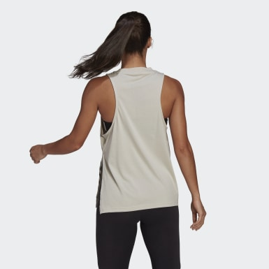 Women Athletics Beige Oversize Tank Top